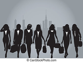 Shopping girls. Urban background.