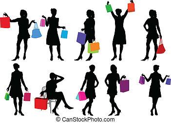 shopping girls - vector