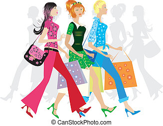 Shopping girls - Vector illustration of three girls going to...