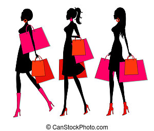 Vector illustration of three young women holding shopping bags. Each one is grouped and placed on a separate layer for easy editing.