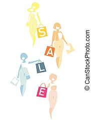 Shopping girls with bags