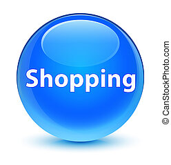 Shopping glassy cyan blue round button