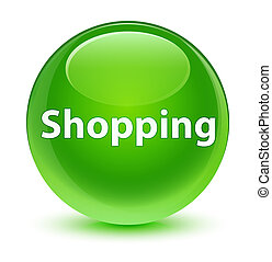 Shopping glassy green round button