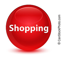Shopping glassy red round button