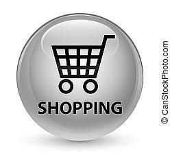 Shopping glassy white round button