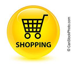 Shopping glassy yellow round button