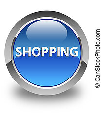 Shopping glossy blue round button