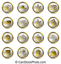 Shopping gold icons set