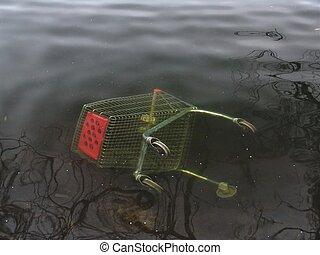 Shopping Gone Awry - Shopping cart under water