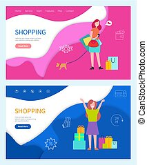 Shopping Good Day Girls with Colored Bags Vector