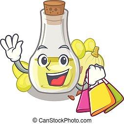 Shopping grape seed oil in cartoon bottle
