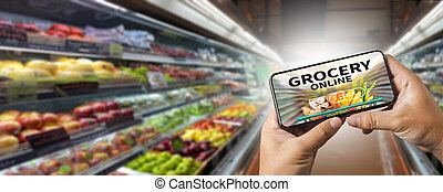 Shopping groceries on online supermarket for food grocery shop