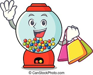 Shopping gumball machine character cartoon