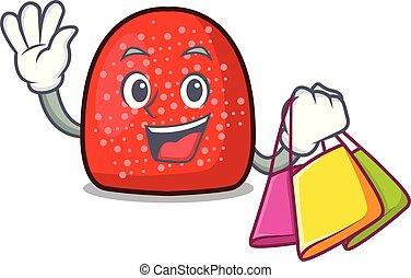 Shopping gumdrop character cartoon style vector illustration