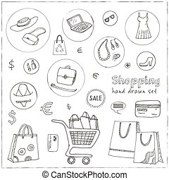 Shopping hand drawn decorative icons set