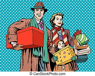 Shopping happy family dad mom girl pop art retro style....
