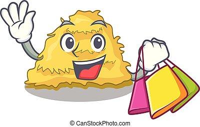 Shopping hay bale character cartoon vector illustration