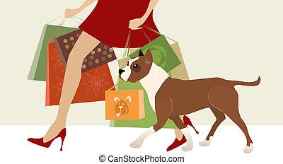 Shopping helper - Dog helps lady carry shop bags