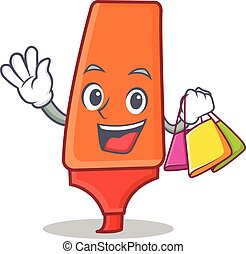 Shopping highlighter cartoon character style