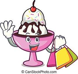 Shopping ice cream sundae character cartoon vector...