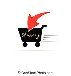 shopping icon color vector