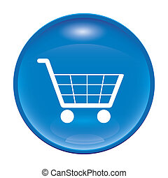 shopping icon - An image of a glossy blue shopping icon