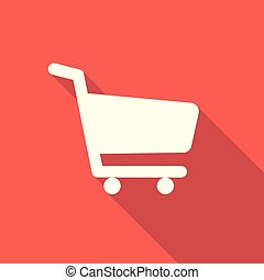 Shopping icon on a red background with a long shadow.Vector illustration