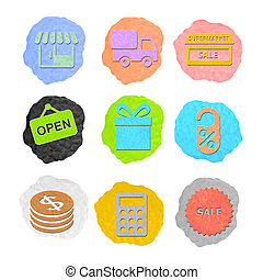 shopping icon plasticine on a white background