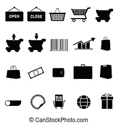 shopping icon set black vector