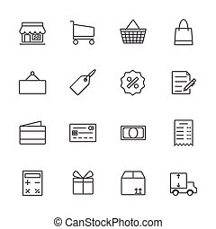 Shopping icon set, Line icon