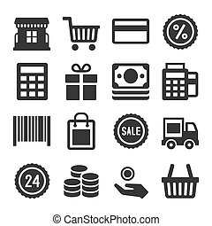 Shopping Icon Set on White background. Vector