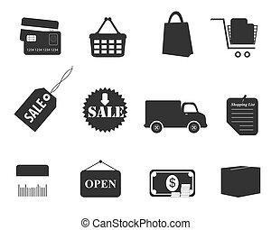 shopping, icona, set