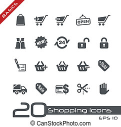 shopping, icone, //, basi
