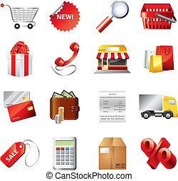 shopping, icone, dettagliato, vettore, set