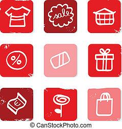 shopping, icone, isolato, vendita, retro, eshop, bianco