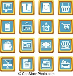 Shopping icons azure