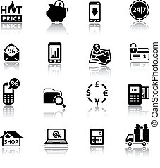 Shopping Icons black with reflection - Shopping Icons. Set...