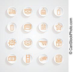 Shopping Icons button shadows vector set