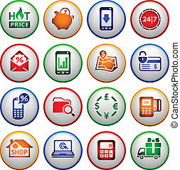 Shopping Icons. Colored round buttons