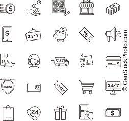 Shopping icons. E-commerce set.