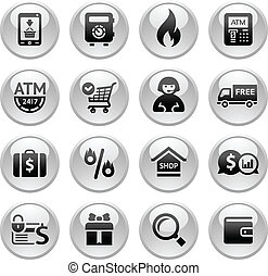 Shopping Icons, Gray buttons new