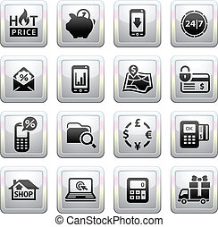 Shopping Icons. Gray. Web 2.0 icons, vector illustration