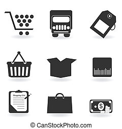 Shopping icons in grayscale