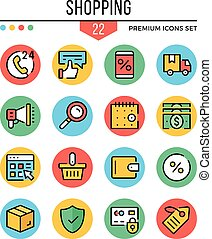 Shopping icons. Modern thin line icons set. Premium quality. Outline symbols, graphic elements collection, concepts, flat line icons. Vector illustration