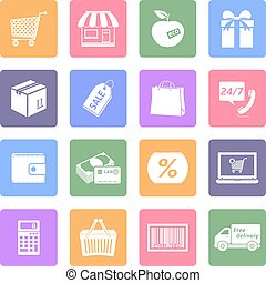 Shopping icons set, flat design