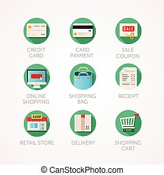 shopping icons set. Modern flat colored illustrations.