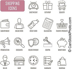 Shopping icons. Set of vector pictogram for web graphics -...