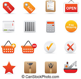 Shopping Icons Set | Red Series 02