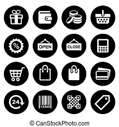 Shopping Icons set - Set pictogram supermarket services,...