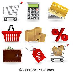 Shopping icons set. Vector illustration